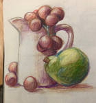 still life of a jug and some tasty fruit