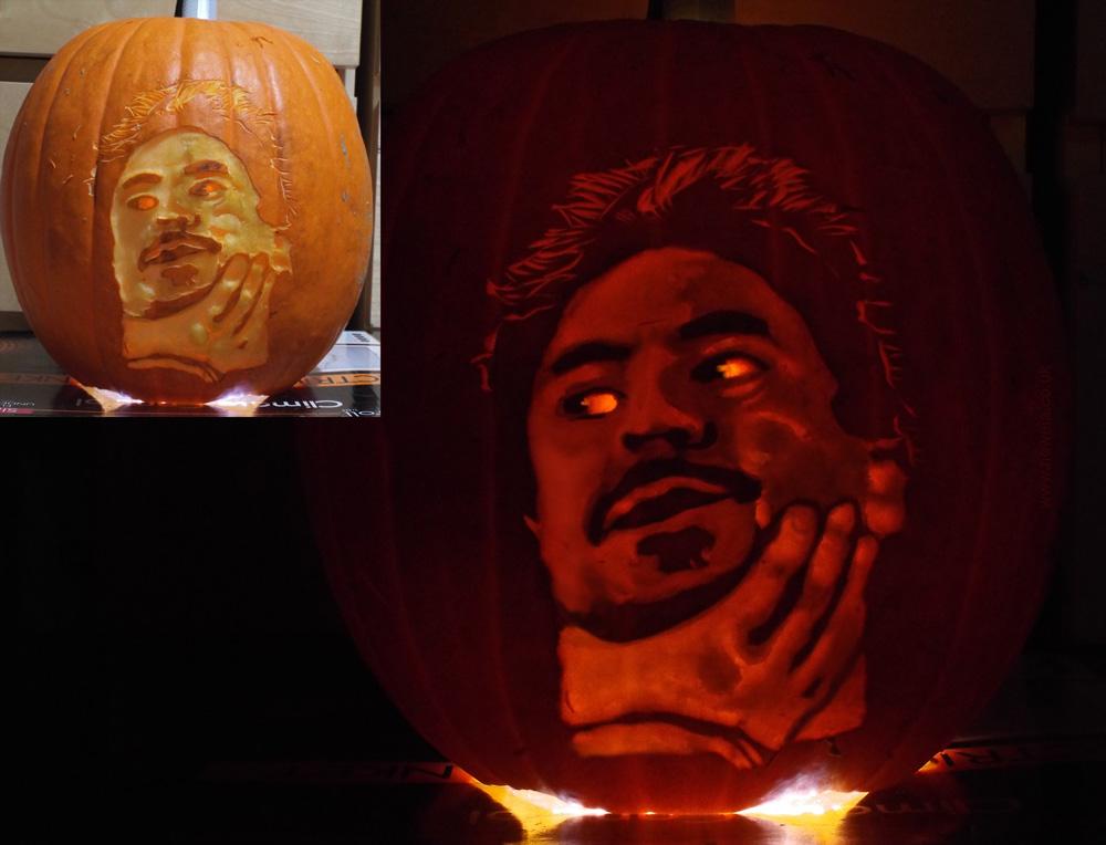 Tony Stark Standard Alien Interaction Pumpkin by Noweia