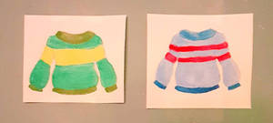 Chara and Frisk Sweaters-Watercolor