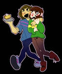 Frisk and Chara having some pie