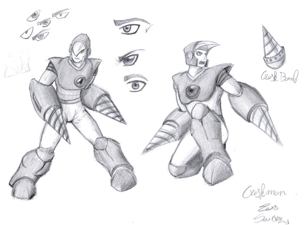 Megaman Classic - Crashman sketch by x723