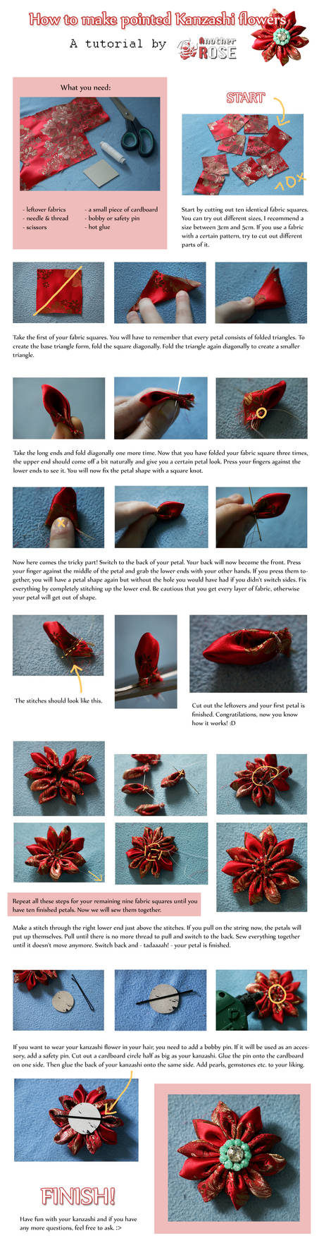 Tutorial - How to make pointed kanzashi flowers
