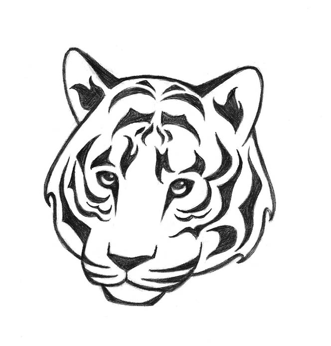 Tiger Line Drawing Easy : Commission tiger tattoo by kaorimoon on deviantart