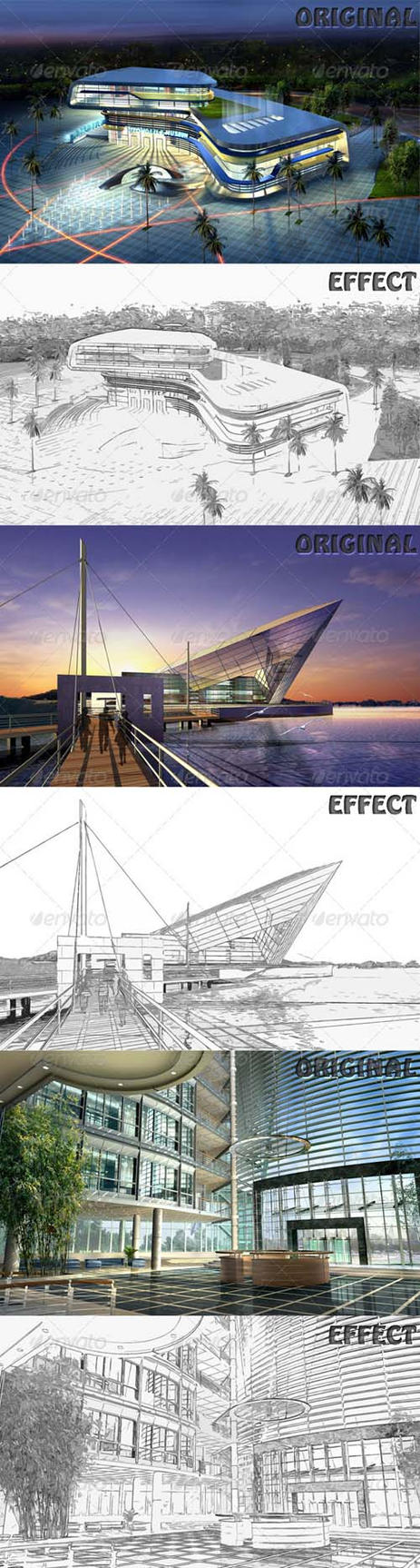 Photoshop Actions Sketch Effect by xgfxws