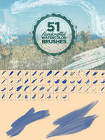 51 Watercolor Photoshop Brushes by xgfxws
