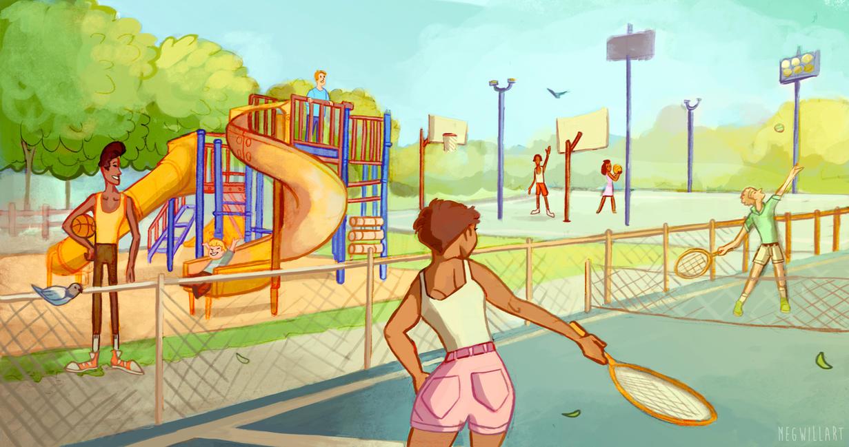 Charter Oak Park Illustration by Bearful