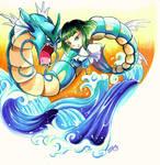 Pokezaki series 10- Haku and Gyarados by joannashen
