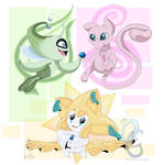 Mew, Celebi, and Jirachi