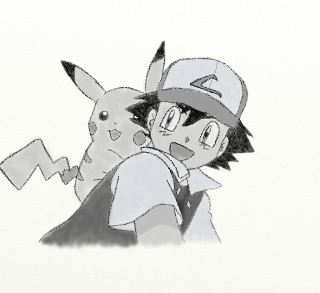 Ash and Pikachu [Black and White] by TiffanyTheArtFreak on ...