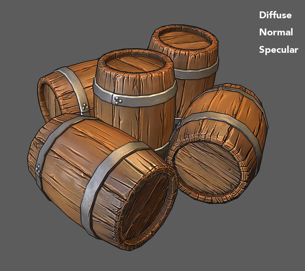 Stylized Wooden barrel for games by jronn-designs on ...