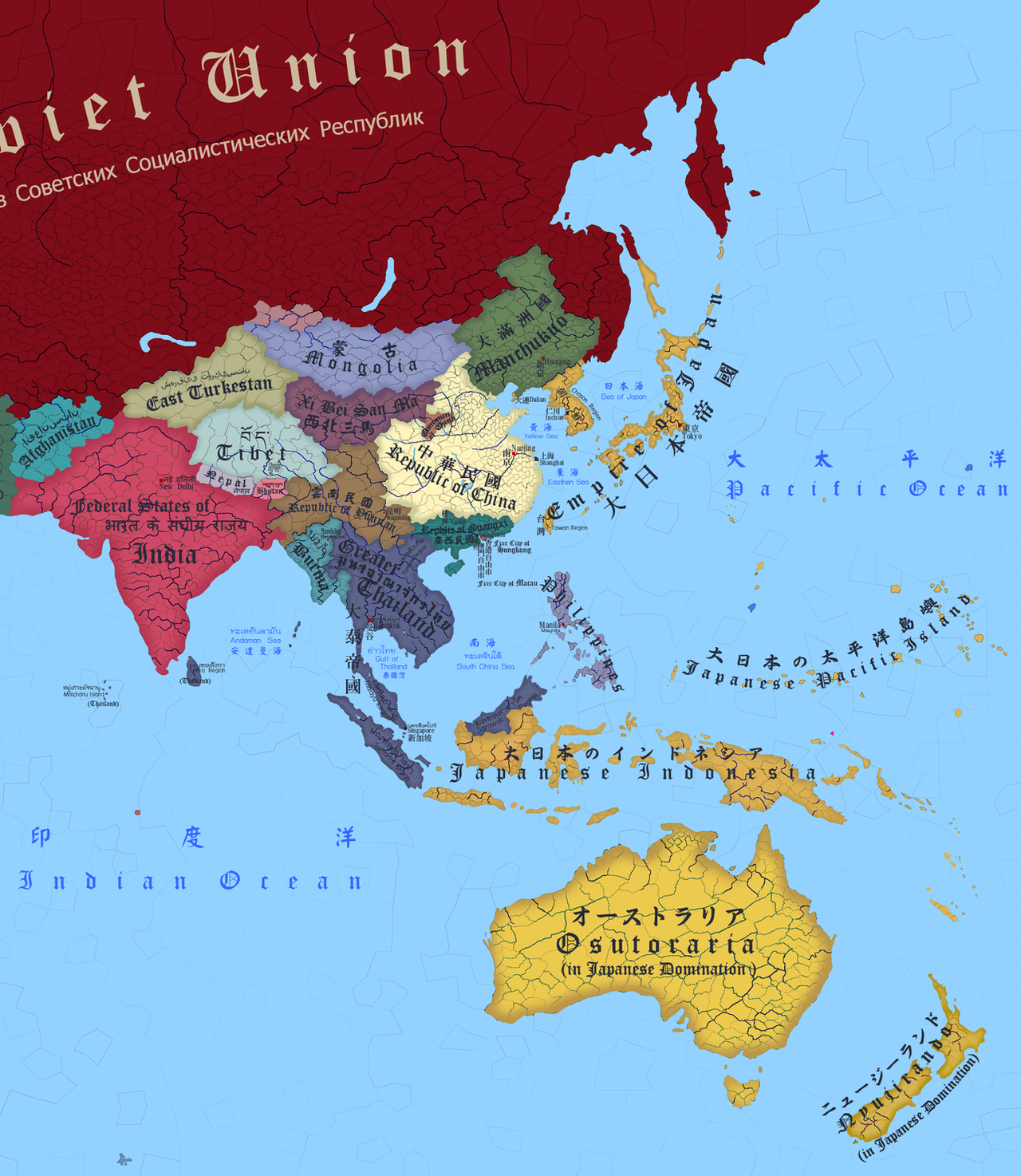 Greater East Asia Map by LongXiaolong