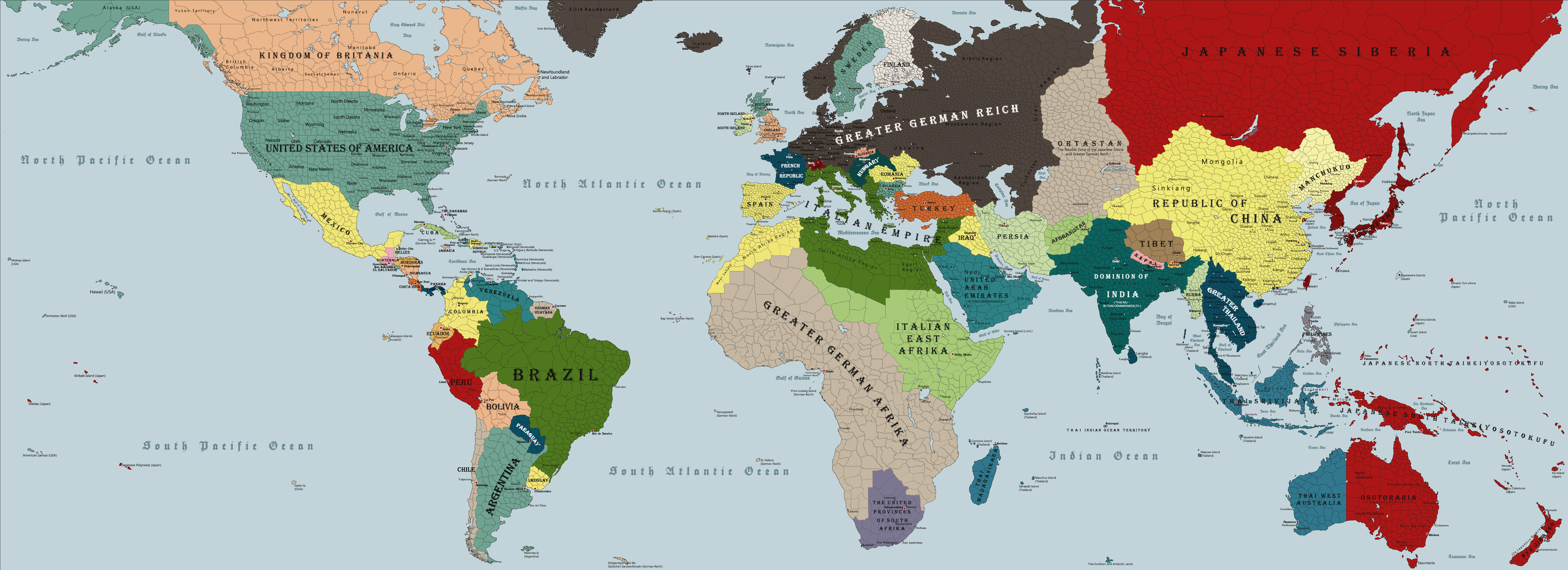 New World Order World Map After Axis Win The War By