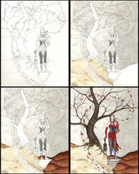 Step-by-step ink n' watercolor by WinterVisions