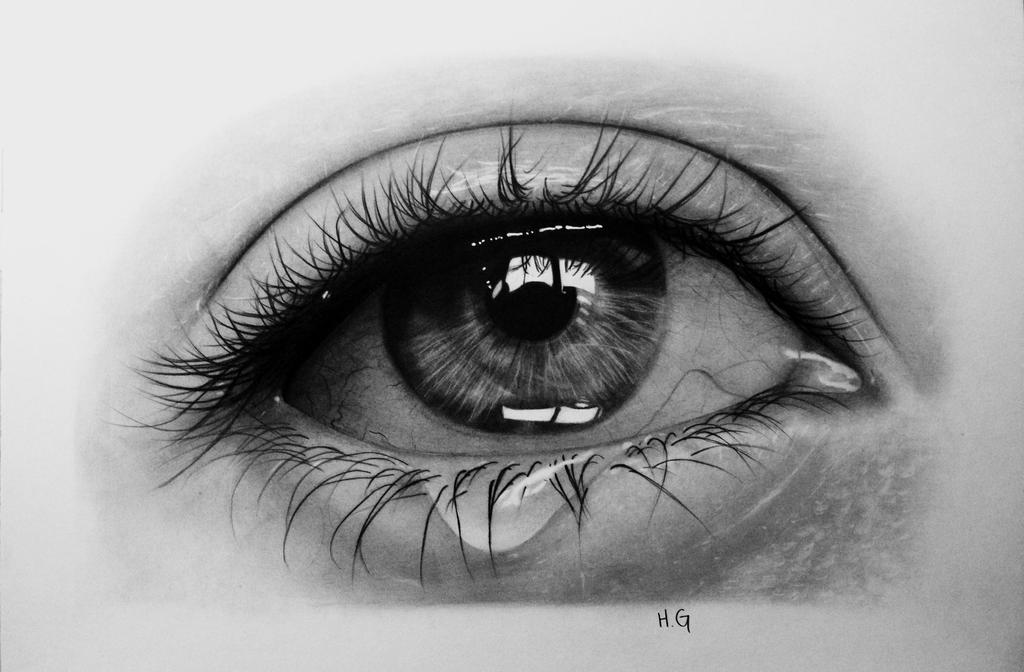 How to draw a realistic eye crying step by step - Eye drawing wallpaper ...