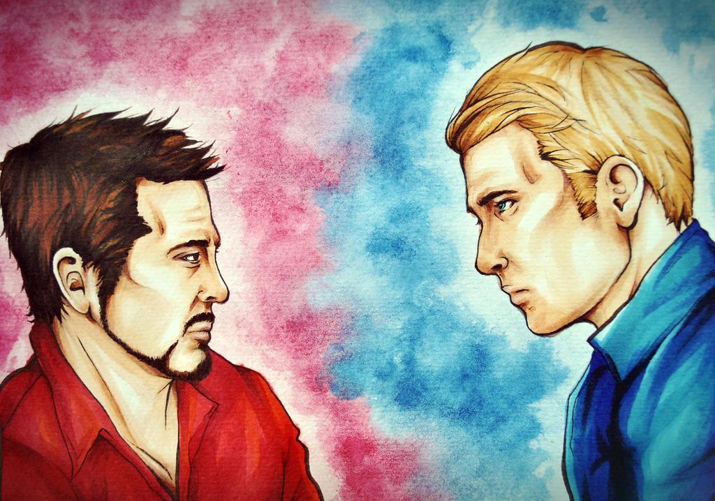 Civil War - Tony Stark and Steve Rogers by arsidoas