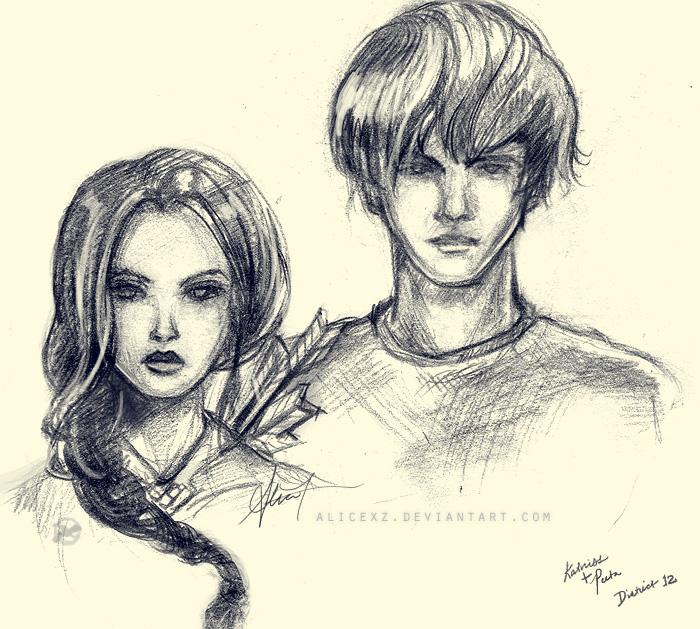 Hunger Games Peeta Drawing Katniss and Peeta by alicexz