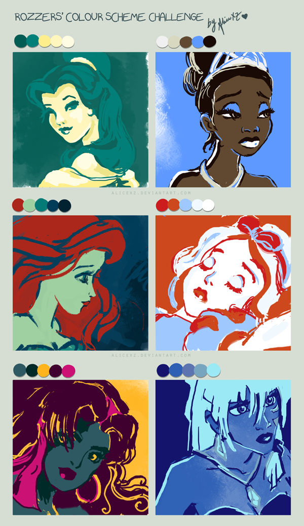 Color Scheme Challenge By Alicexz On Deviantart Disney Princess Color Scheme