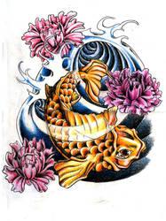 Koi Fish and Peony Flowers by MilkshakePunch
