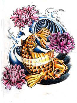 Koi Fish and Peony Flowers