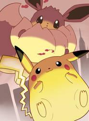 Gigantamax Pikachu and Eevee