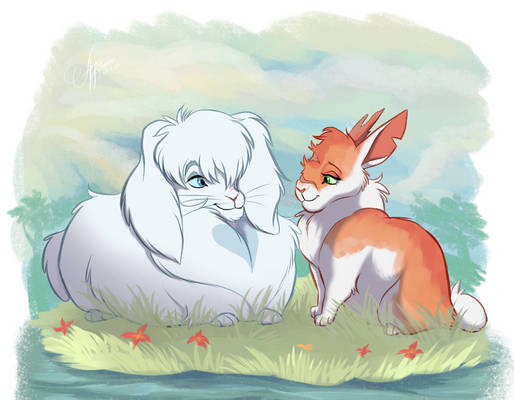 Cloudtail and Brightheart - Warriors Bunnies