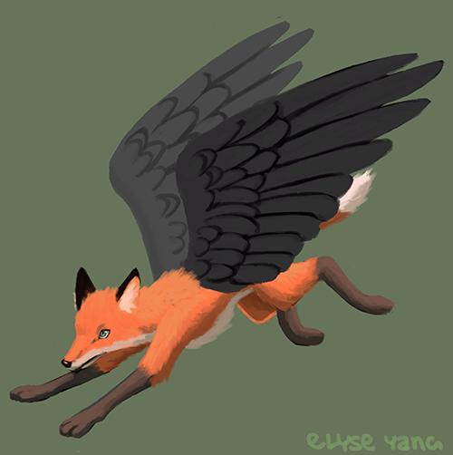 Winged fox by poplarleaves