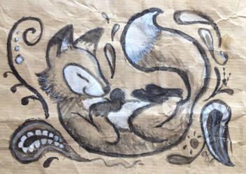 Fox dreaming in black n white by Gwenonwyn