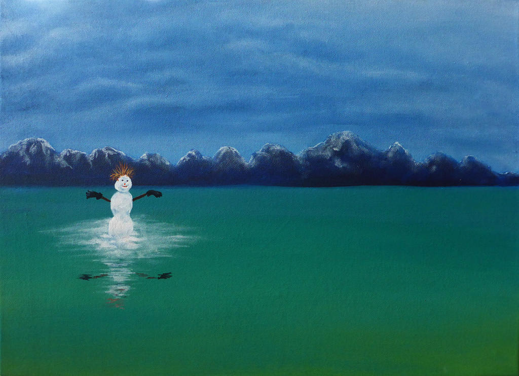 Snowman with Pine Needle Hair on Flathead Lake by aeravi