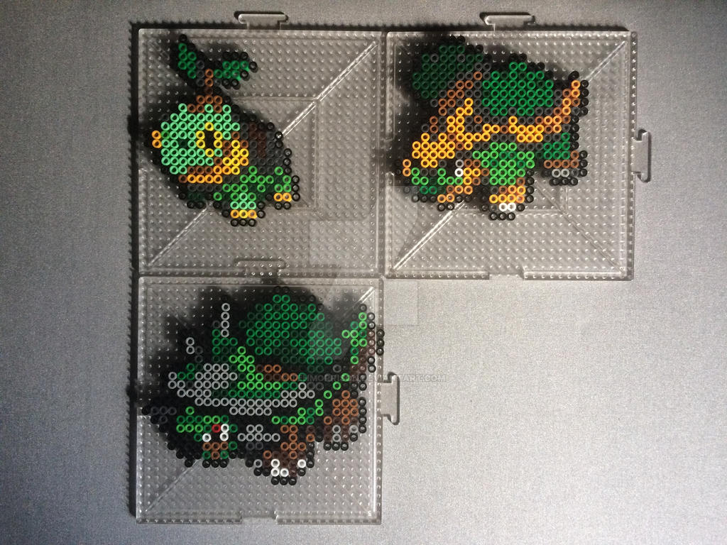#387-#389 Turtwig Family Perlers by TehMorrison