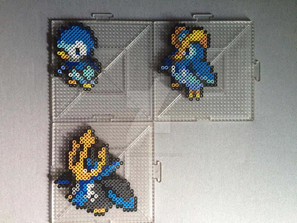 #393-#395 Piplup Family Perlers by TehMorrison