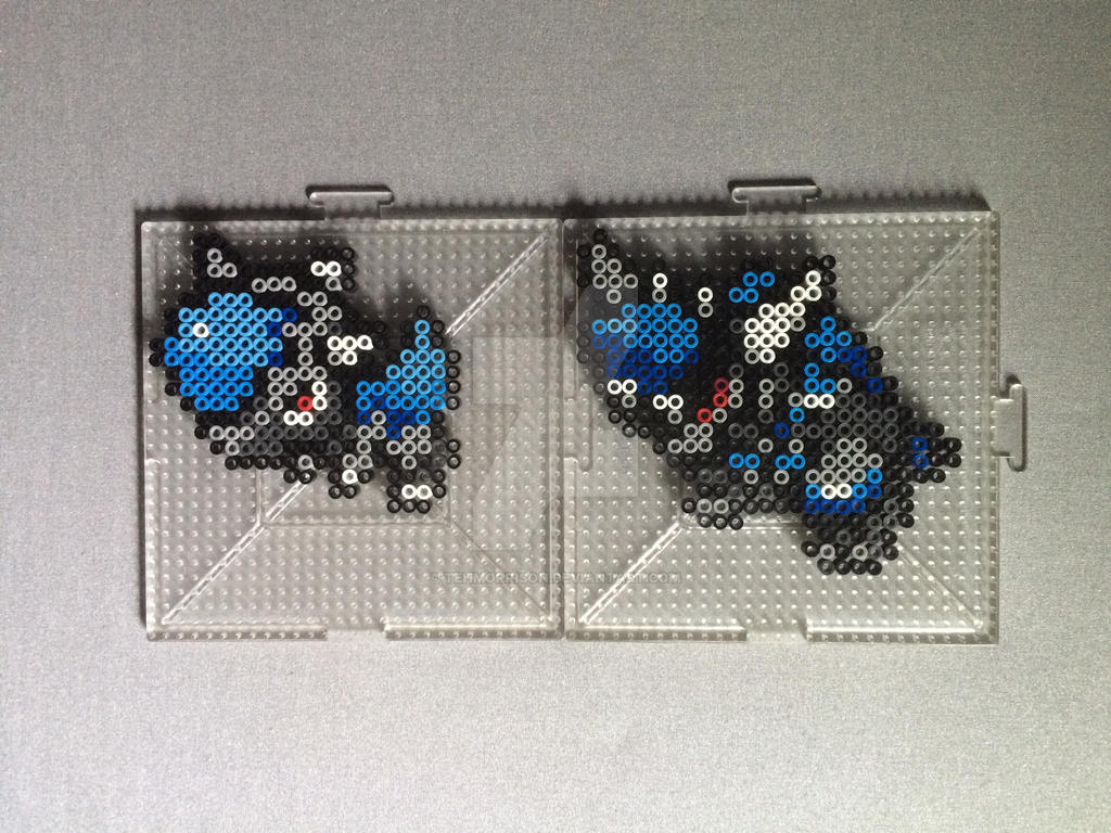 #408-#409 Cranidos and Rampardos Perlers by TehMorrison