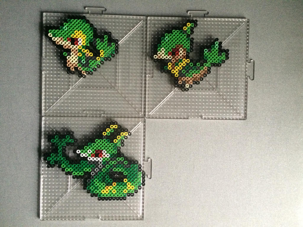 #495-#497 Snivy Family Perlers by TehMorrison