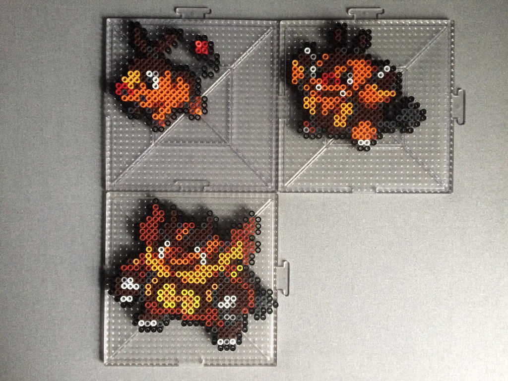 #498-#500 Tepig Family Perlers by TehMorrison
