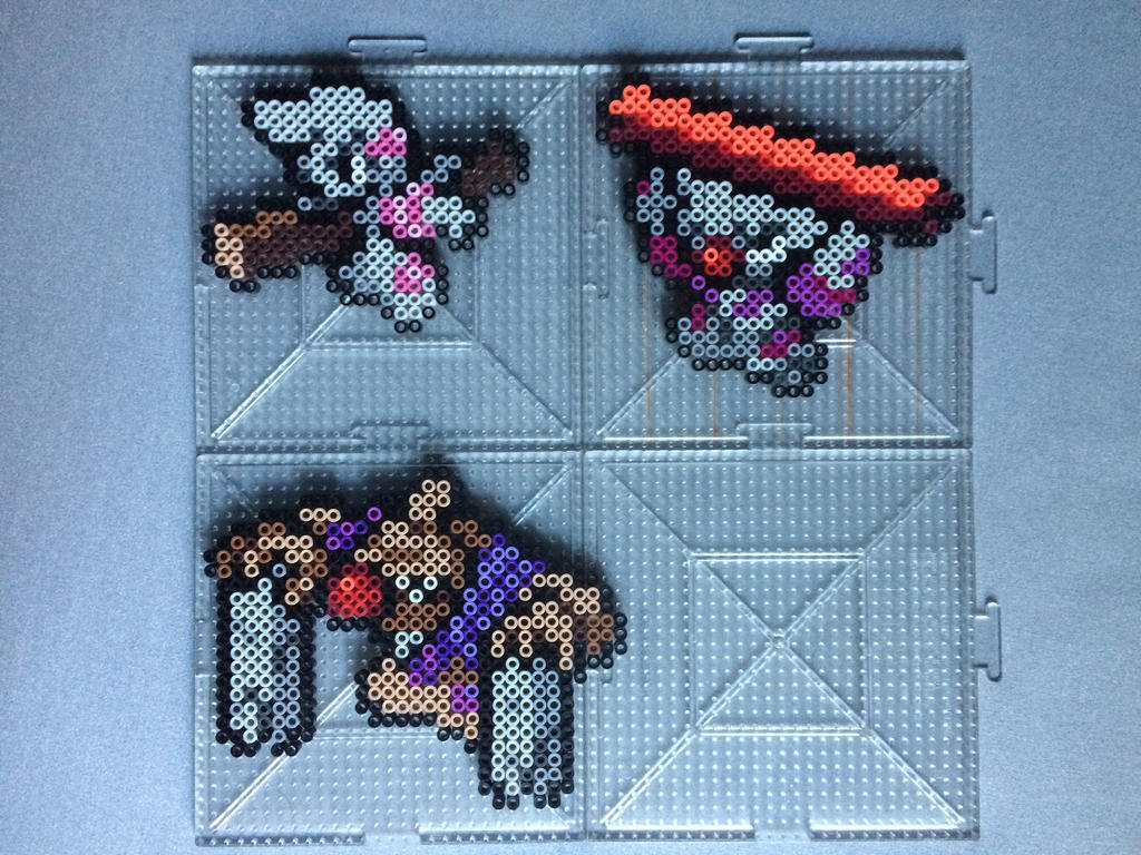 #532-#534 Timburr Family Perlers by TehMorrison