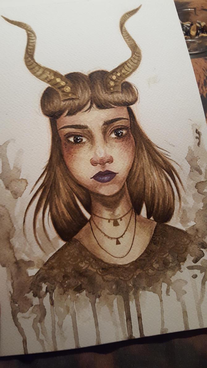 horned girl by samishero
