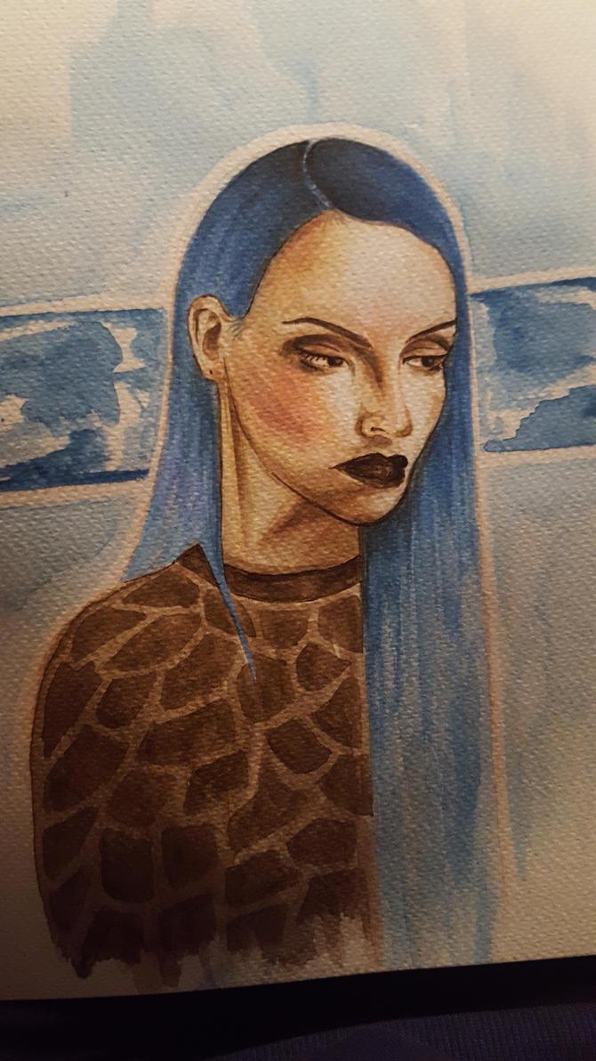 blue hair by samishero
