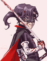 Hit-Girl bloody doodle by Ricken-Art