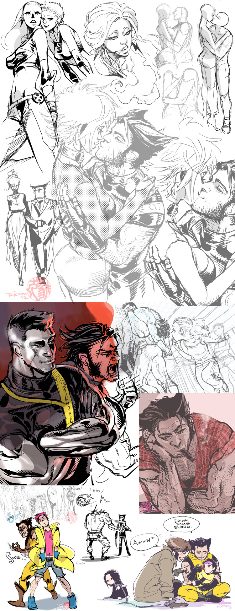 Some X-men sketches by Ricken-Art