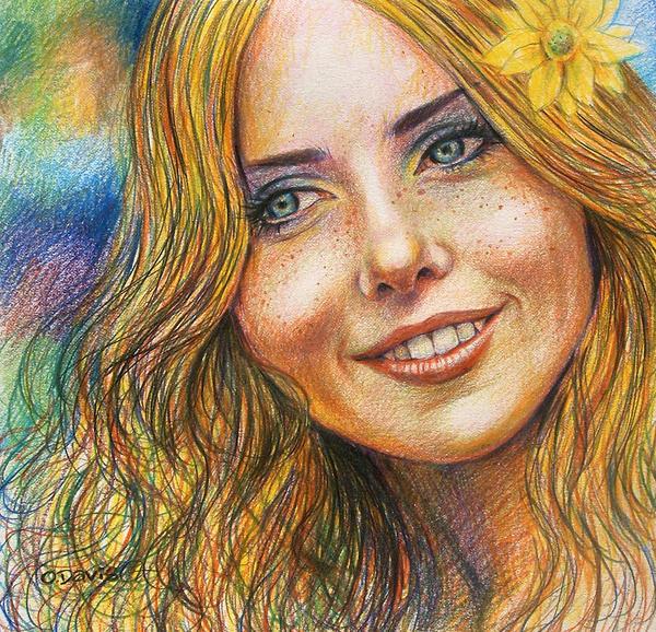 Портреты цветным карандашом рисунки