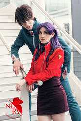 Misato and Kaji by silkybean