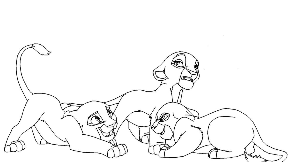 Three lioness cubs base by scarzdaughter on deviantart for Lioness coloring pages