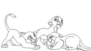 Three Lioness Cubs Base