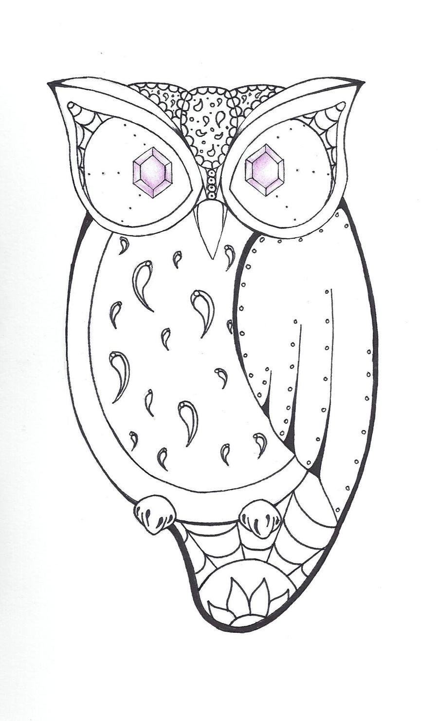 Easy cute owl drawings