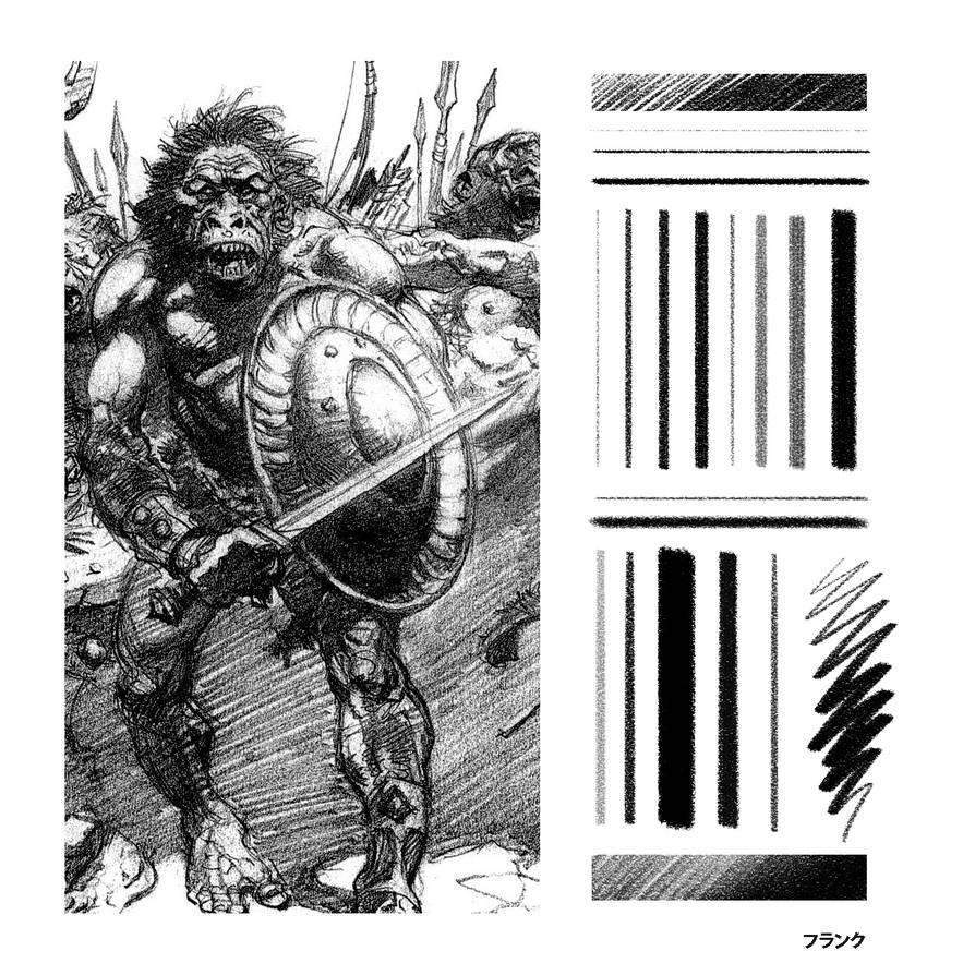Frank frazetta sketch photoshop pencil brush by frankqbe