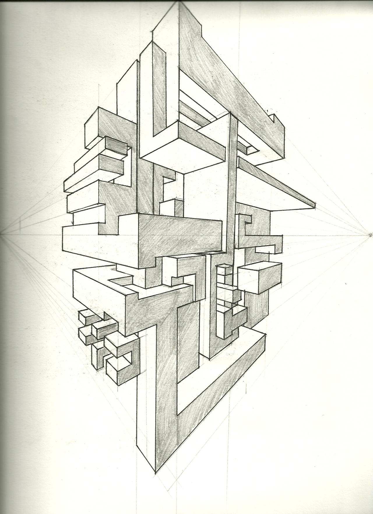 Two point perspective exercise by tower015 on deviantart for Architecture modern house design 2 point perspective view