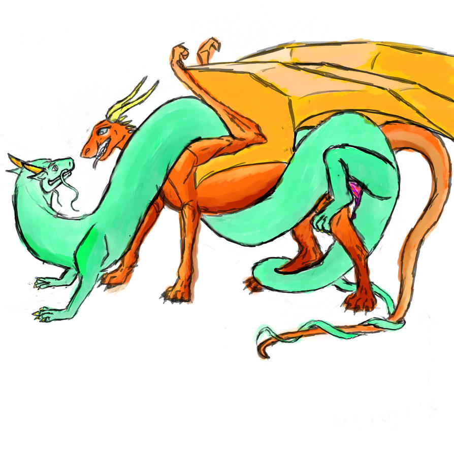 Two dragons doing it by Antesser