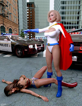 Wonder Woman out cold as Power Girl arrives