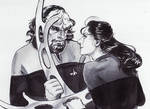 Inktober 14th: Jadzia Dax and Worf