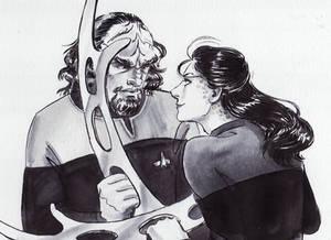 Inktober 14th: Jadzia Dax and Worf