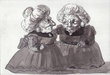 Inktober 17th: Yubaba and Zeniba - Swollen by Danikatze